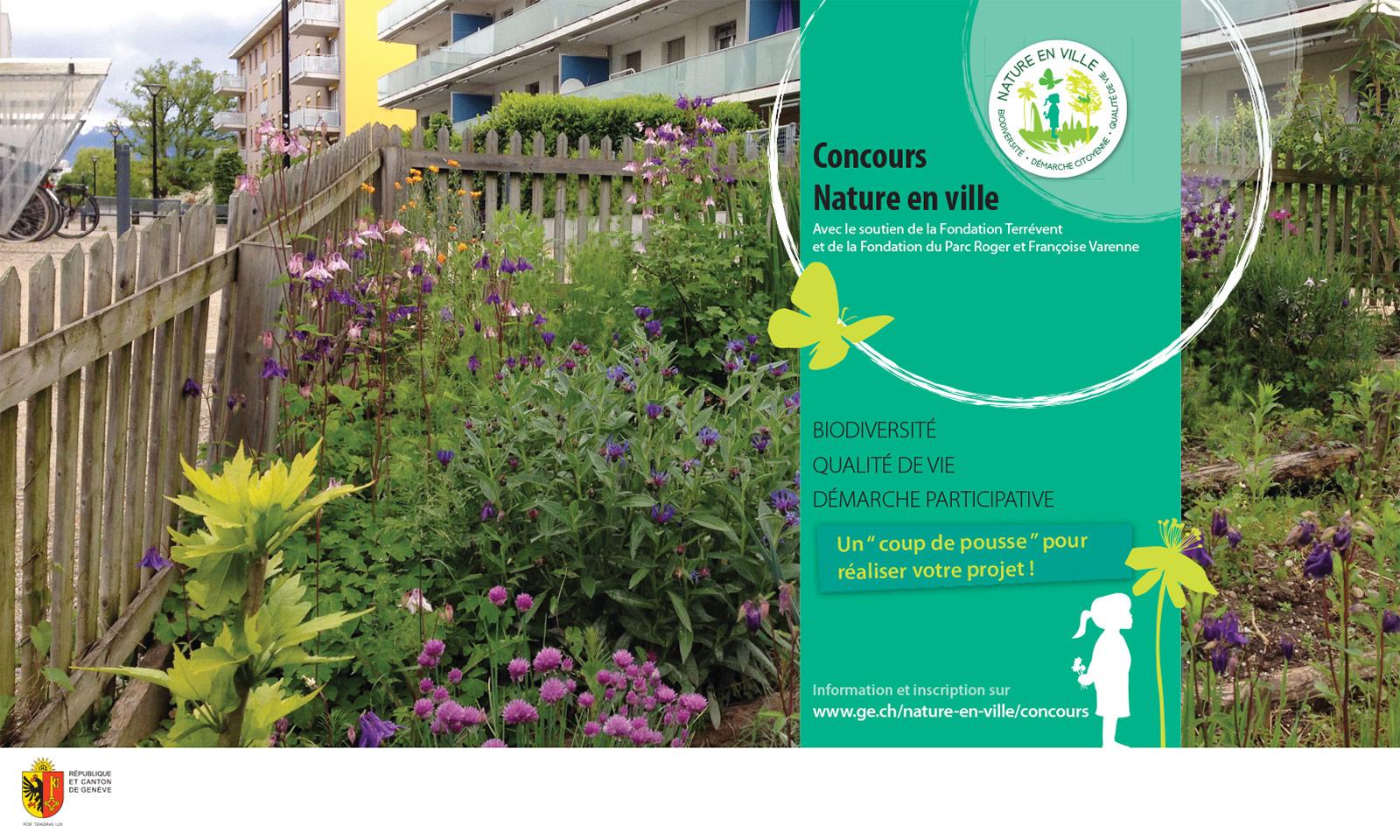 Bâche présentant le concours Nature en ville - Etat de Genève - DETA