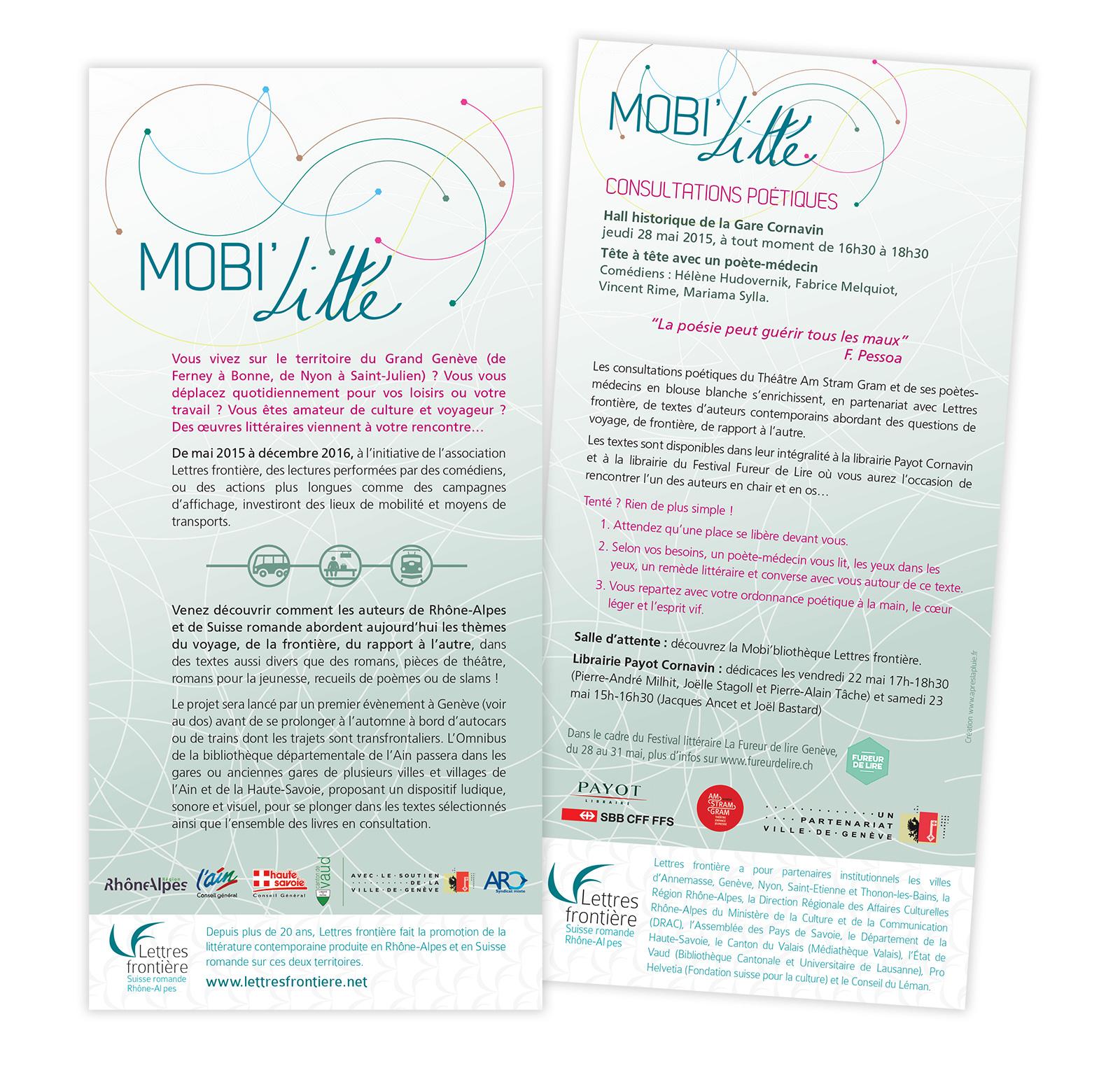 Flyer présentant une partie du programme Mobi'Litté - Lettres frontière