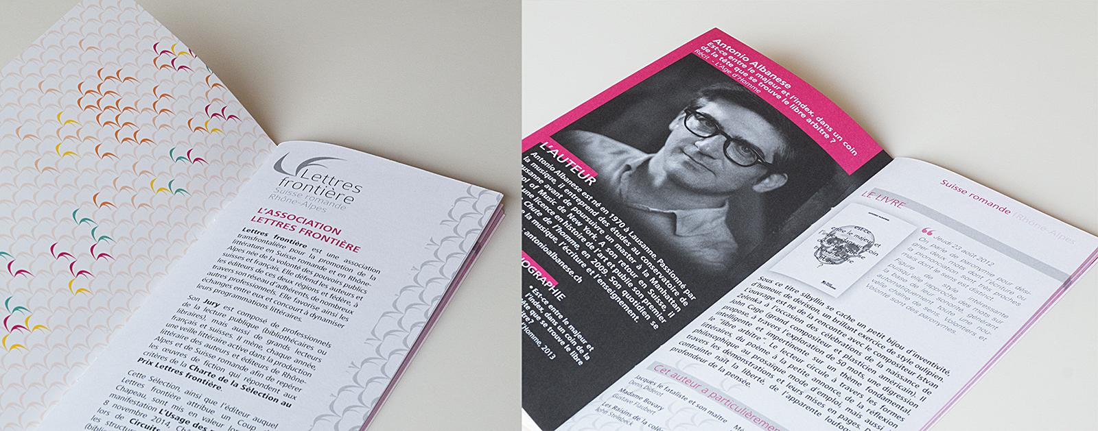 Pages intérieures du livret présentant la 21e Sélection au Prix Lettre frontière