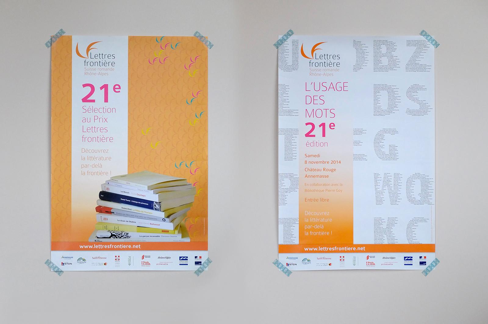 Affiches de la 21e sélection et de l'Usage des mots pour Lettres frontière