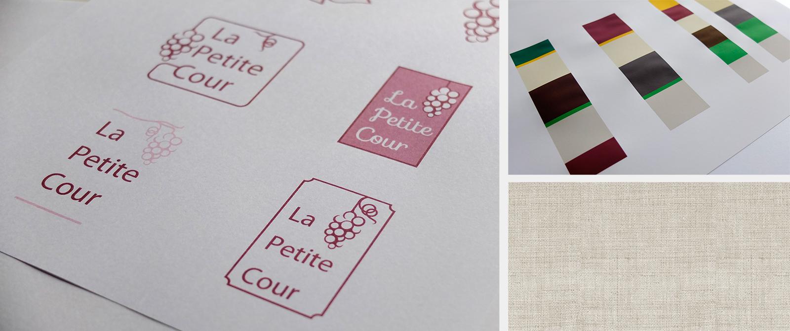 Recherches logo et identité graphique restaurant La Petite Cour