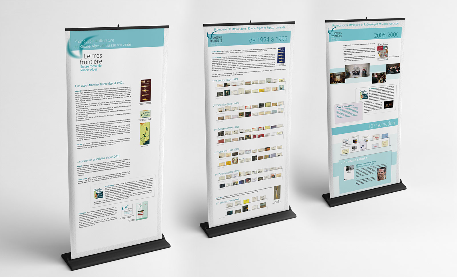 Trois panneaux de l'exposition des vingt ans de l'association Lettres frontière