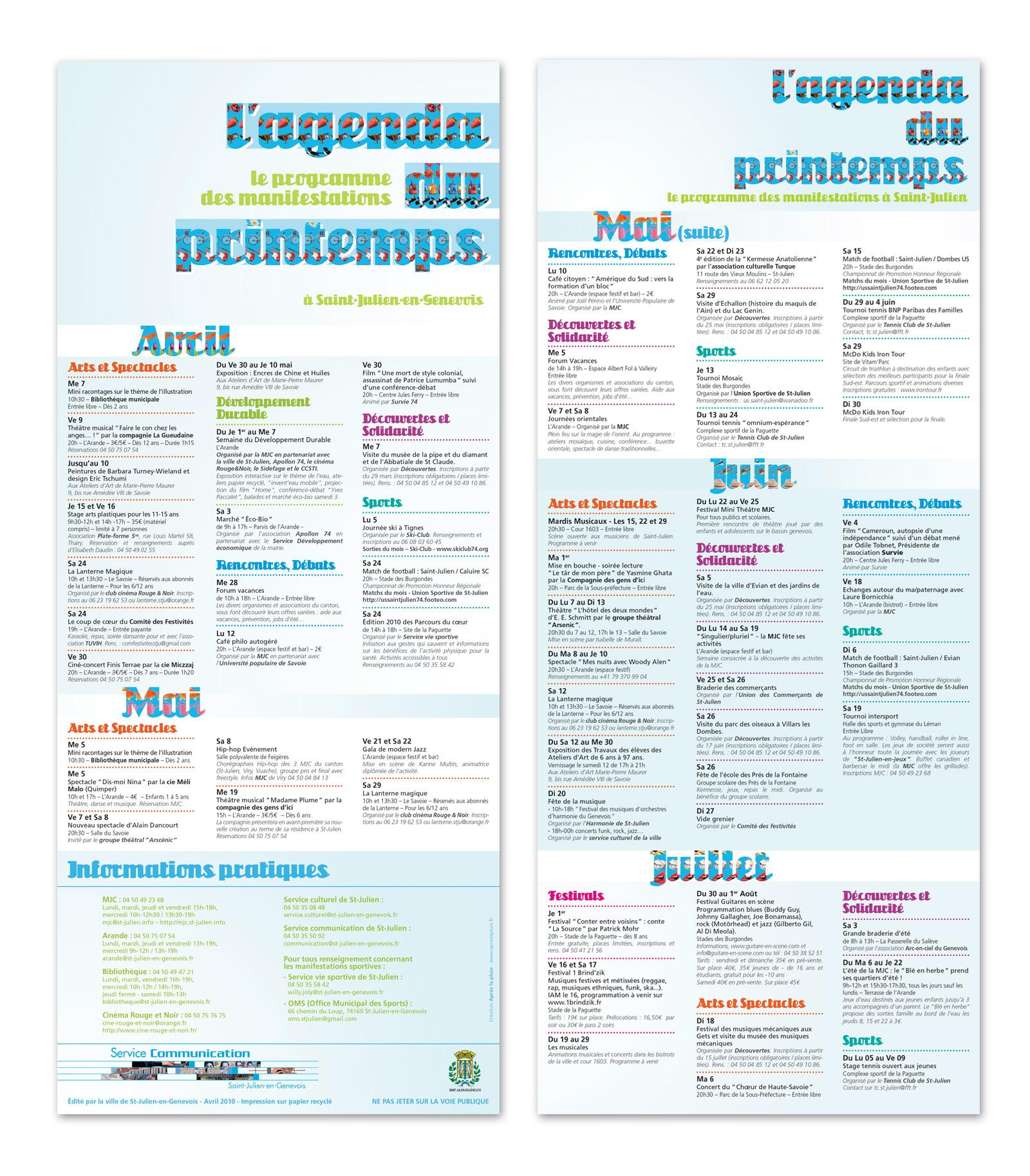 Vue complète du programme du printemps de la mairie de St-Julien-en-Genevois