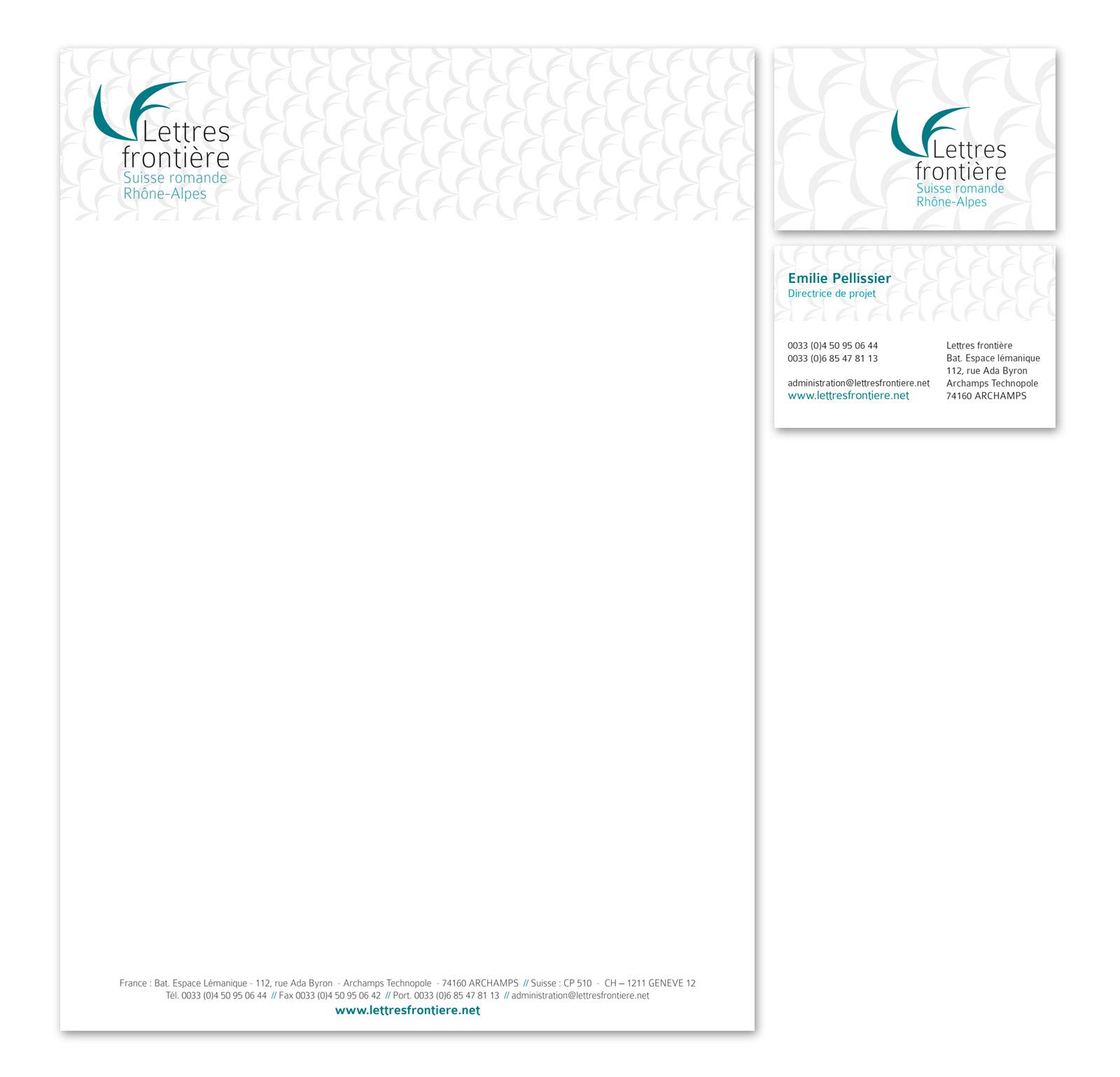 Papier à entête et carte de visite de Lettres frontière