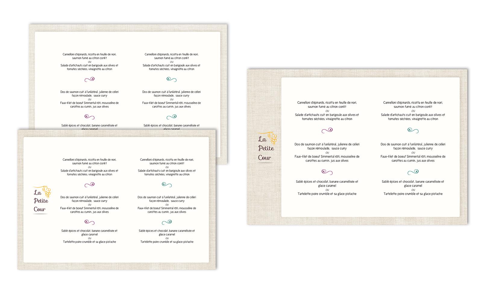 Projet pour les menus du restaurant La Petite Cour
