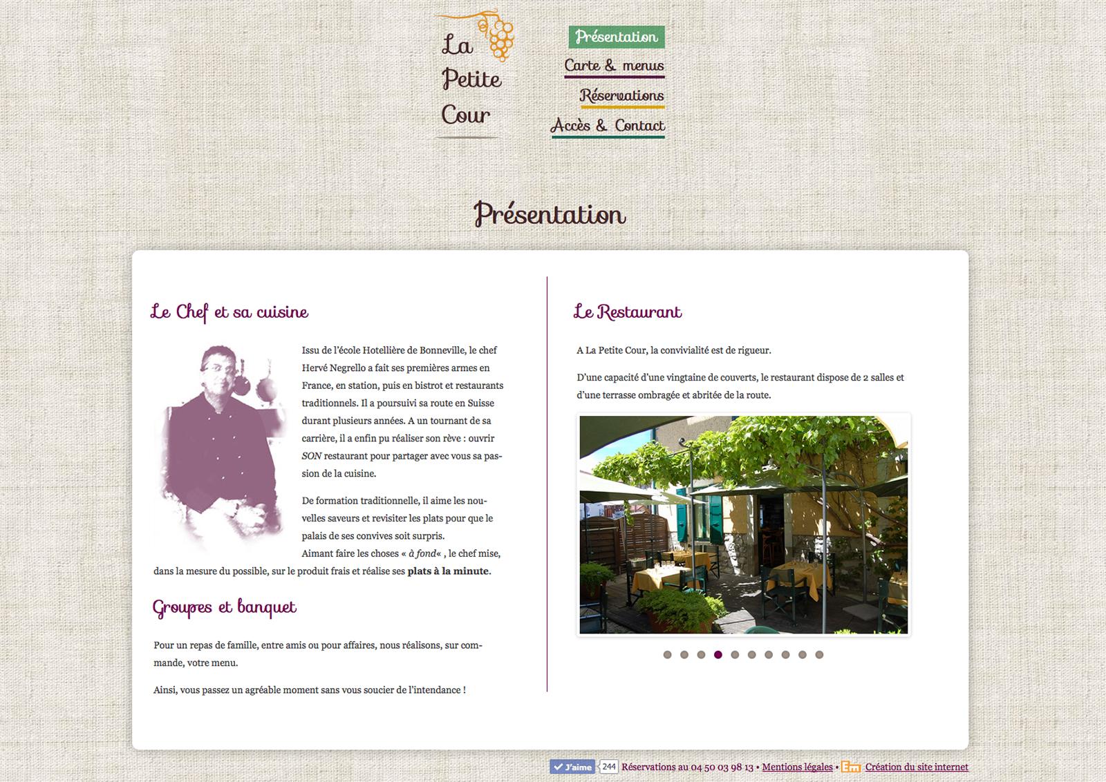 Site internet du restaurant La Petite Cour