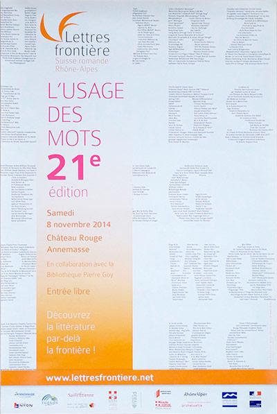 Affiche de l'Usage des mots 2014 pour Lettres frontière