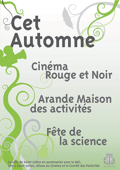 Affiche et flyer présentant la saison culturelle d'automne pour la mairie de Saint-Julien-en-Genevois