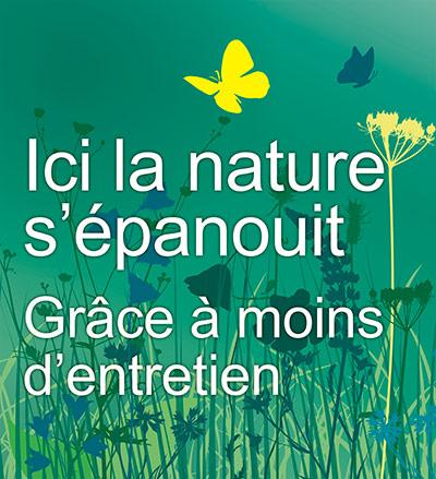 Détail du visuel pour le panneau et les bornes Ici la nature s'épanouit pour la République de Genève